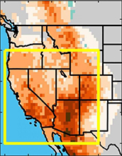 areas of southwestern North America affected by drought