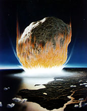 Illustration of meteorite impact into the sea.