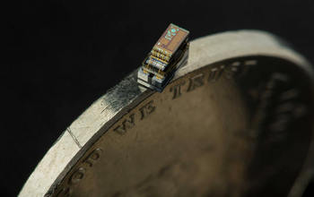 micro-biosensor on the side of a coin