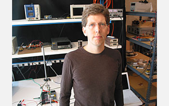 Photo of Dan Schlitz of Thorrn Micro Technologies, one of the developers of the micro-fan.