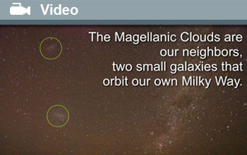 Image and text showing the Milky Way with the Magellanic Clouds circled.