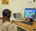 Person wearing a hat with electrodes controls a 3d virtual helicopter