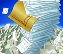 Illustration of a stack of paper rising above the city skyline.