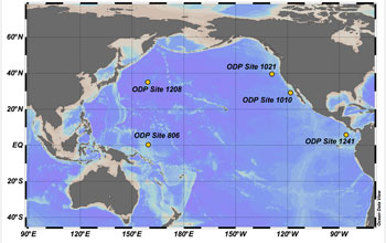 Map showing location of core sampling sites in the North Pacific Ocean.
