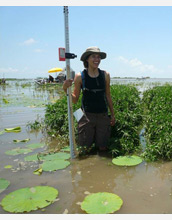 Photo of NCED undergraduate student surveying land development in the Wax Lake Delta.