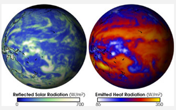 Images of earth showing reflected solar radiation on left and emitted heat radiation on right.