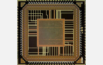 Image of a mixed-signal system-on-a-chip developed as a platform for implantable prosthetics.
