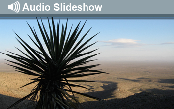 Photo of desert landscape and the words Audio Slideshow