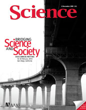Cover of the Nov. 6 issue of Science magazine.