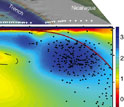 Illustration showing recently discovered magma layer releative to the coast of Nicaragua
