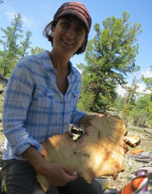 Scientist Amy Hessl holding a cross-section of wood from a preserved log.
