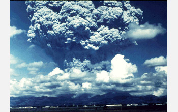 Photo of an 18-kilometer-high plume from one of a series of eruptions in 1991 at Mount Pinatubo.