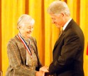 Cathleen Synge Morawetz receives the Medal of Science from President Clinton.