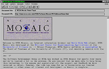 Screen shot of the Mosaic Web browser interface.