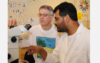Photo of Walter Leal, professor of entomology, and Zain Syed, postdoctoral researcher.