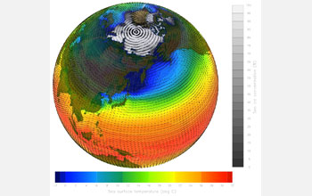 Global map showing simulation of one month of 20th century climate.