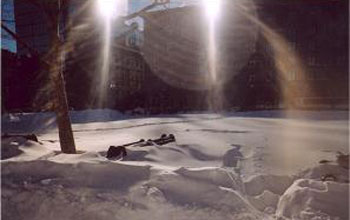 Photo of Boston's Copley Park during the blizzard of 2005.