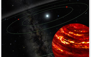 Artist's conception of the multiple planet system, initially discovered with Gemini North optics.