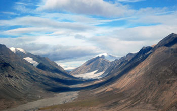 Photo of Quttinirpaaq National Park, which is dominated by glaciers and tundra vegetation.