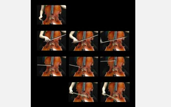 A collage of images showing different stages of playing a cello.