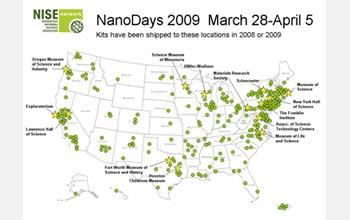 Map of the USA showing the institutions that will celebrate Nano Days 2009.