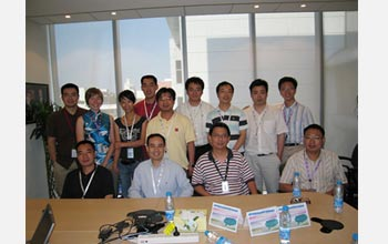 Photo of the GE China Technology Center's Functional Materials Lab team with Meghan Schulz.