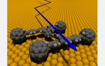Graphic of a nano-car with four carbon-based wheels rolling on axles made of linked carbon atoms.