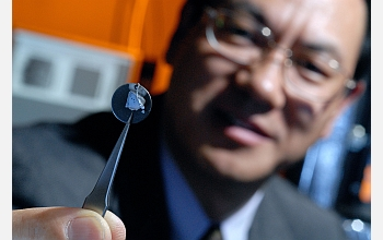 Georgia Tech Professor Zhong Lin Wang holds a sample nanowire array.