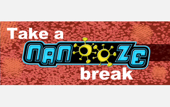 Photo of the marquee banner for the Take a Nanooze Break exhibition.