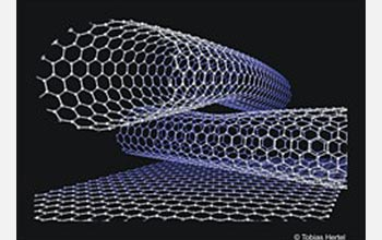 Image showing ball and stick model of two crossing carbon nanotubes on a graphite surface.