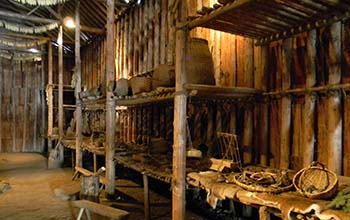 interior of a reconstructed Iroquoian longhouse