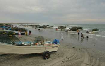 Image of lobster fishermen setting traps at Punta Abreojos, Baja California, Mexico.