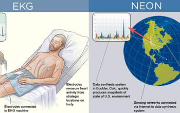 Graphic illustration showing a patient and the earth and how EKG and NEON work in similar ways.