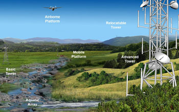 Graphic illustration showing a NEON location's infrastructure on ground, in the air and water.
