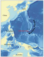 Map showing the location of the Mariana Trench, the deepest part of the world's oceans.