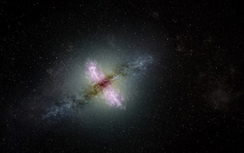 Artist's conception of a galaxy with an active nucleus propelling jets of material outward