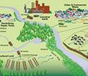 Illustration showing how excess nitrogen goes through the environment and into rivers and streams.