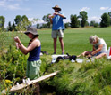 Photo of scientists collecting stream water samples on a golf course near Jackson Hole, Wyoming.