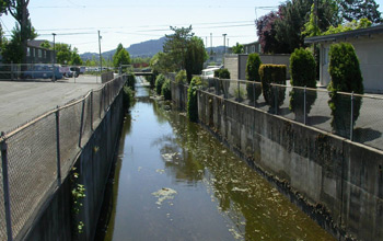 Photo of an urban drainage canal in Oregon.