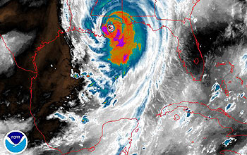 Satellite image of hurricane and gulf coast