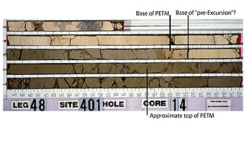 Core sample showing sediments that led to new conclusions about climate change