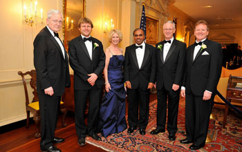 Left to right, Ray Bowen, Casey Dunn, Moira Gunn, Subra Suresh, Charles Vest, and Dennis Bartels.