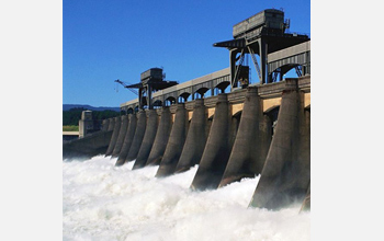 Photo of a dam illustrating hydropower.