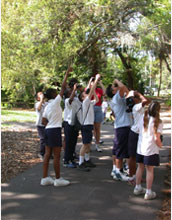 Photo of students identifying parkland birds in Florida.