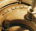 Photo showing a closeup of the exposed guts of the NSCL K500 cyclotron