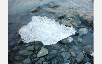 Photo of melting glacier ice in New Zealand.