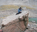 Photo of scientists using glacial debris samples to retrace ancient glaciers' paths.