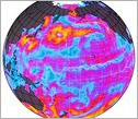 Earth globe showing ocean surface circulation and winds, including in the Western tropical Pacific.