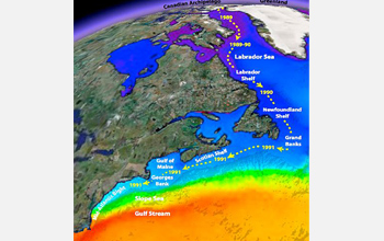 Map showing oceanographic data collected in the Arctic and North Atlantic oceans.