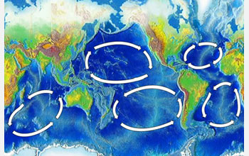 Map showing ocean currents and gyres in the Atlantic, Pacific and Indian oceans.